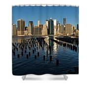 Luminous Blue Silver And Gold - Manhattan Skyline And East River Shower Curtain