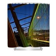 Luminous Green Bridge Shower Curtain