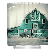 Luna Barn Teal Shower Curtain