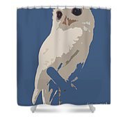 Luna The Rescued White Leucistic Eastern Screech Owl Abstracted Shower Curtain