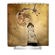 Lunar Flight Shower Curtain by Meirion Matthias