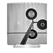 Lunar Lamp In Black And White Shower Curtain