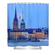 Lunar Teamwork Full Moon Rising Over Gamla Stan In Stockholm Shower Curtain