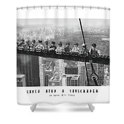 Lunch Atop A Skyscraper, By Lego Shower Curtain