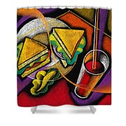 Lunch Shower Curtain by Leon Zernitsky