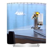 Lunch Over Santorini Shower Curtain