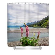 Lupin Flowers In Alpine Scenery At Kinloch, Nz. Shower Curtain