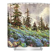 Lupines And Bluebells Shower Curtain