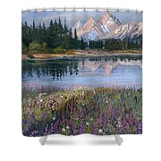 Lupines At Pilgrim Creek Shower Curtain