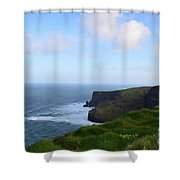 Lush Green Grass Along The Top Of The Cliffs Of Moher Shower Curtain