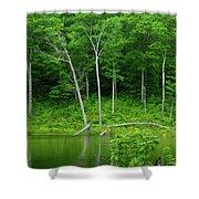 Lush Green Pond Shower Curtain