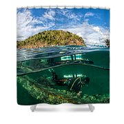 Lusong Gunboat Just Below Surface Shower Curtain