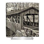Luther Mills Bridge In Monochrome Shower Curtain