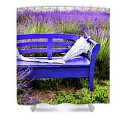 Luvin Lavender Farm Bench Shower Curtain