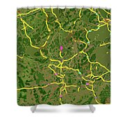 Luxembourg Green Traffic Map, Abstract Europe Map Shower Curtain