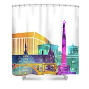 Luxembourg Landmarks Watercolor Poster Shower Curtain