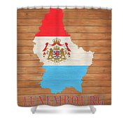 Luxembourg Rustic Map On Wood Shower Curtain