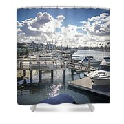 Luxury Boats Moored At Naples Island, Long Beach, Ca Shower Curtain
