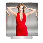 Luxury Female Fashion Model In Classy Red Dress Shower Curtain