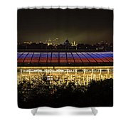 Luzhniki Stadium At Summer Night Against The Background Of The Ministry Of Foreign Affairs, The Cath Shower Curtain