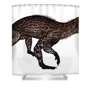 Lycaenops Dinosaur Walking, White Shower Curtain