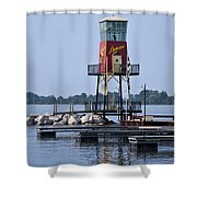 Lyman Harbor Lighthouse Shower Curtain