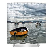 Lyme Regis Harbour - March Shower Curtain