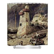 Lynmouth In Devonshire Shower Curtain by Myles Birket Foster