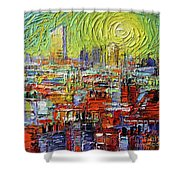 Lyon Sunrise Glow - Modern Impressionist Stylized Cityscape Shower Curtain