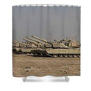 M1 Abrams Tanks At Camp Warhorse Shower Curtain
