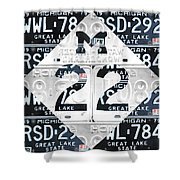 M22 Michigan Highway Symbol Recycled Vintage Great Lakes State License Plate Logo Art Shower Curtain by Design Turnpike