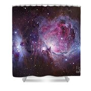 M42, The Orion Nebula Top, And Ngc Shower Curtain by Robert Gendler