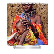 Maasai Grandmother And Child Shower Curtain