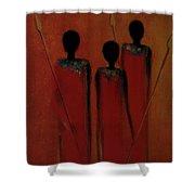 Maasai Trio  Shower Curtain by David Dehner