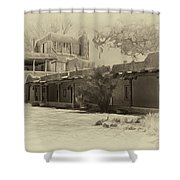 Mabel's Courtyard As Antique Print Shower Curtain