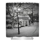 Mablehead Market Square Snowstorm Old Town Evening Black And White Painterly Shower Curtain