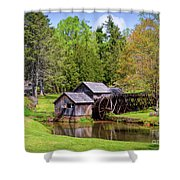 Mabry Mill In The Springtime On The Blue Ridge Parkway  Shower Curtain by Kerri Farley