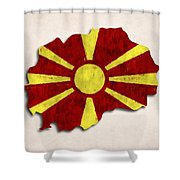 Macedonia Map Art With Flag Design Shower Curtain
