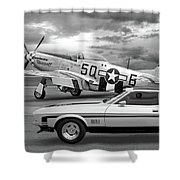 Mach 1 Mustang With P51 In Black And White Shower Curtain