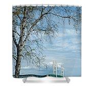 Mackinac Bridge Birch Shower Curtain