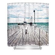 Mackinac Island Michigan Shuttle Pier Pa 02 Shower Curtain