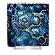 Macro 3d Blue Reflections Shower Curtain