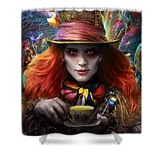 Mad As A Hatter Shower Curtain by Omri Koresh