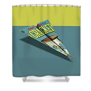 109s Cracked Mad Paper Airplanes Shower Curtain