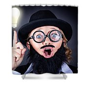 Mad Professor With Light Bulb Breakthrough Shower Curtain