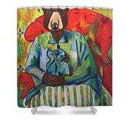 Madame Bear In A Chair Shower Curtain