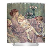 Madame Van De Velde And Her Children Shower Curtain by Theo van Rysselberghe