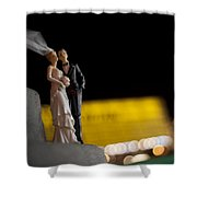 Made In China Bride And Groom Shower Curtain