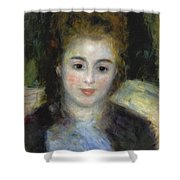 Mademoiselle Henriot Or Young Girl With A Blue Ribbon Shower Curtain