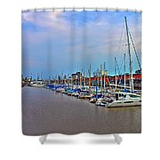 Madero Boat Yard Shower Curtain